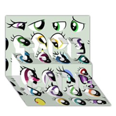 Eyes  Pattern Take Care 3d Greeting Card (7x5)