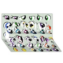 Eyes  Pattern Congrats Graduate 3d Greeting Card (8x4)