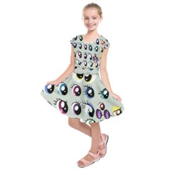 Eyes  Pattern Kids  Short Sleeve Dress
