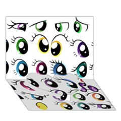 Eyes  Pattern Heart Bottom 3D Greeting Card (7x5)