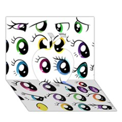 Eyes  Pattern Apple 3d Greeting Card (7x5)