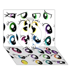 Eyes  Pattern Peace Sign 3d Greeting Card (7x5)