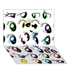 Eyes  Pattern Ribbon 3d Greeting Card (7x5)