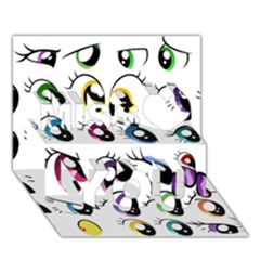 Eyes  Pattern Miss You 3d Greeting Card (7x5)