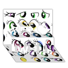Eyes  Pattern Get Well 3D Greeting Card (7x5)