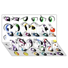 Eyes  Pattern Happy New Year 3D Greeting Card (8x4)
