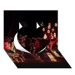 Holiday Lights Christmas Yard Decorations Heart 3D Greeting Card (7x5)