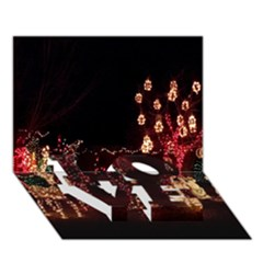 Holiday Lights Christmas Yard Decorations LOVE Bottom 3D Greeting Card (7x5)
