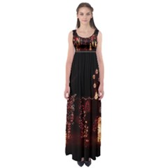 Holiday Lights Christmas Yard Decorations Empire Waist Maxi Dress