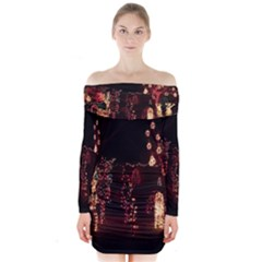 Holiday Lights Christmas Yard Decorations Long Sleeve Off Shoulder Dress