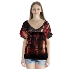 Holiday Lights Christmas Yard Decorations Flutter Sleeve Top