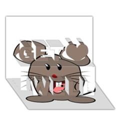 Raton Mouse Christmas Xmas Stuffed Animal Get Well 3D Greeting Card (7x5)