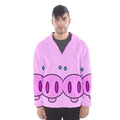 Pink Pig Christmas Xmas Stuffed Animal Hooded Wind Breaker (men)