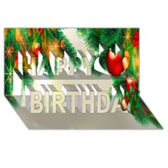 Ornament Christmast Pattern Happy Birthday 3d Greeting Card (8x4)