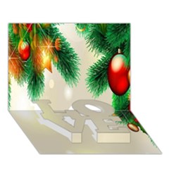 Ornament Christmast Pattern LOVE Bottom 3D Greeting Card (7x5)