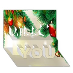Ornament Christmast Pattern Miss You 3D Greeting Card (7x5)