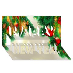 Ornament Christmast Pattern Happy New Year 3d Greeting Card (8x4)