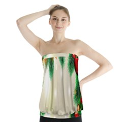 Ornament Christmast Pattern Strapless Top