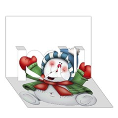 Snowman With Scarf I Love You 3D Greeting Card (7x5)