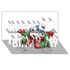 Snowman With Scarf Happy Birthday 3d Greeting Card (8x4)
