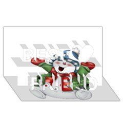 Snowman With Scarf Best Friends 3d Greeting Card (8x4)