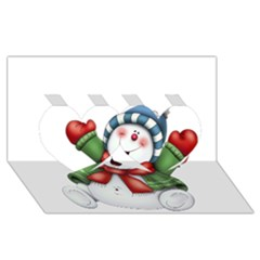 Snowman With Scarf Twin Hearts 3d Greeting Card (8x4)