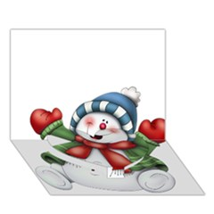 Snowman With Scarf Heart Bottom 3d Greeting Card (7x5)