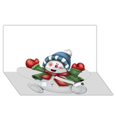 Snowman With Scarf Twin Heart Bottom 3d Greeting Card (8x4)