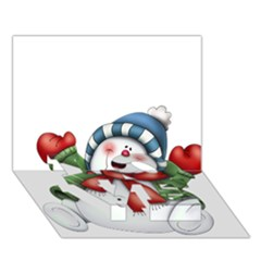 Snowman With Scarf Love Bottom 3d Greeting Card (7x5)