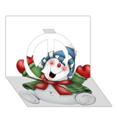 Snowman With Scarf Peace Sign 3d Greeting Card (7x5)
