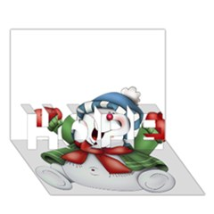 Snowman With Scarf Hope 3d Greeting Card (7x5)