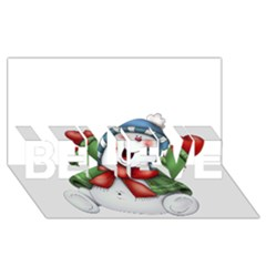 Snowman With Scarf BELIEVE 3D Greeting Card (8x4)