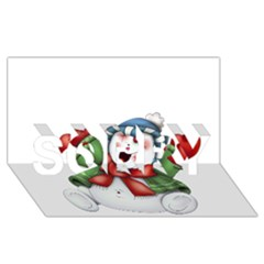 Snowman With Scarf Sorry 3d Greeting Card (8x4)
