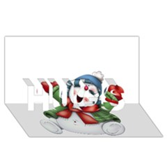 Snowman With Scarf HUGS 3D Greeting Card (8x4)