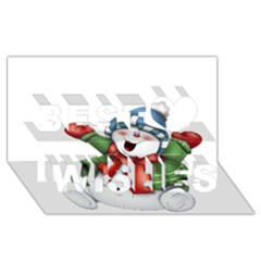 Snowman With Scarf Best Wish 3d Greeting Card (8x4)