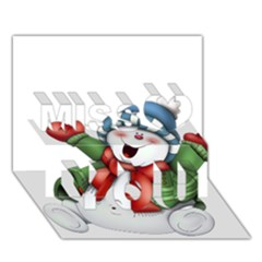 Snowman With Scarf Miss You 3D Greeting Card (7x5)