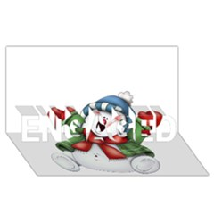 Snowman With Scarf Engaged 3d Greeting Card (8x4)