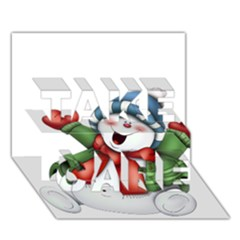Snowman With Scarf Take Care 3d Greeting Card (7x5)
