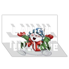 Snowman With Scarf Laugh Live Love 3D Greeting Card (8x4)