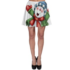 Snowman With Scarf Skater Skirt