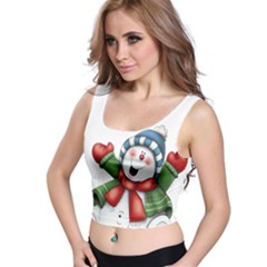 Snowman With Scarf Crop Top