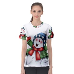 Snowman With Scarf Women s Sport Mesh Tee