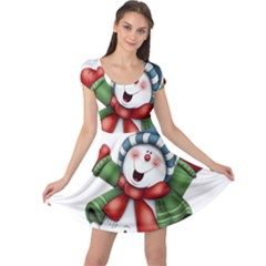 Snowman With Scarf Cap Sleeve Dresses