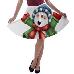 Snowman With Scarf A Line Skater Skirt