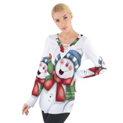 Snowman With Scarf Women s Tie Up Tee