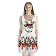 Snowman With Scarf Split Back Mini Dress