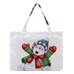 Snowman With Scarf Medium Tote Bag