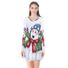 Snowman With Scarf Flare Dress