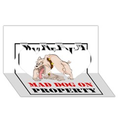 Watch Out Mad Dog On Property Twin Hearts 3d Greeting Card (8x4)