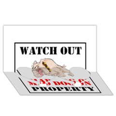 Watch Out Mad Dog On Property Twin Heart Bottom 3d Greeting Card (8x4)